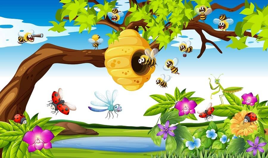 Bees Make Honey Using Pollen and nectar image for kids